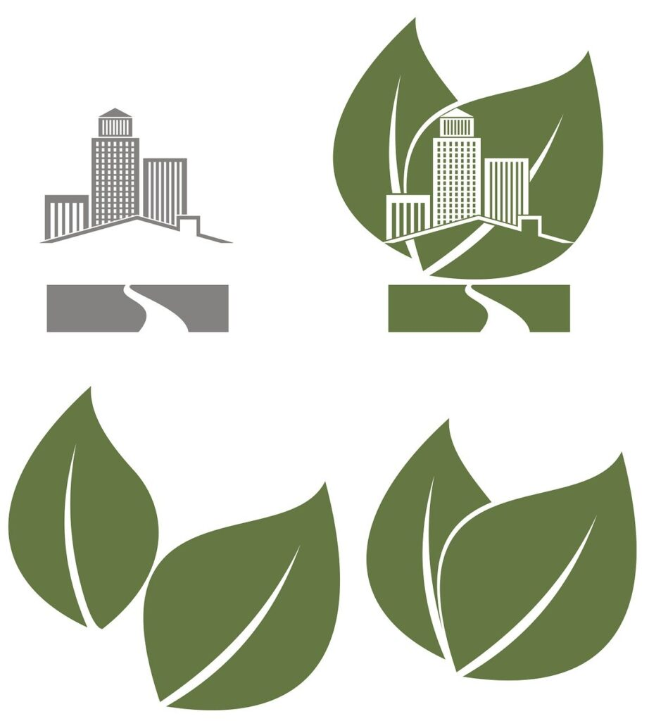 Icon describing the concept of green energy and recycling
